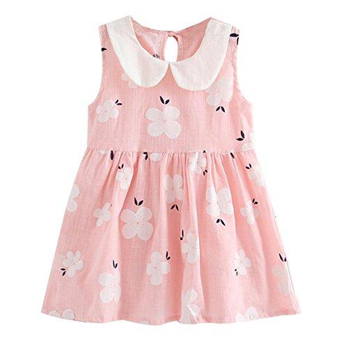 Preisvergleich Produktbild Sommerkleid für Mädchen,  ärmellos,  Baumwolle,  Blumenmuster,  Prinzessinnen-Puppenkragen,  Gr. 34-5T,  Rosa