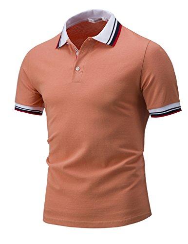 LIANIHK Polo Herren Baumwolle Poloshirt Kontrastfarben kurzarm M - 3XL Gelb