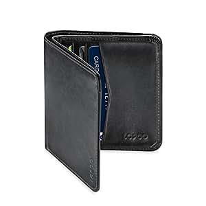 LOPOO Genuine Leather Portafogli RFID Blocco 8 Tasca con Finestra (Liscio Nero)