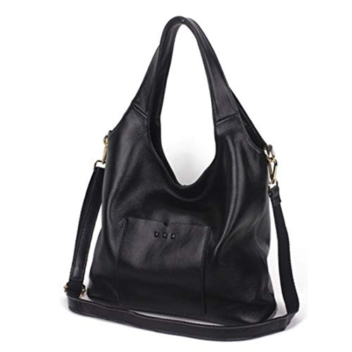 Uzanesx Echtes Leder Große Kapazität Handtasche Umhängetaschen Umhängetaschen Satchel Handtaschen mit abnehmbarem Riemen für Frauen (Color : Black)