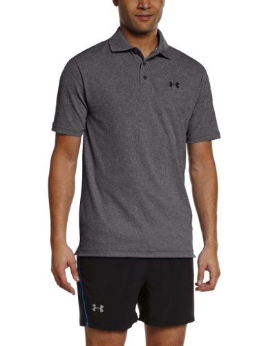 Under Armour Performance T-Shirt Polo da Golf, per Uomo, cbh/blk, Carbone (Carbon Heather)/Nero, S
