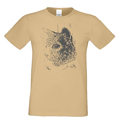 Herren Katzen-T-Shirt für Tier-Freunde als tolle Geschenk-Idee bis Größe 5XL / Print-Katzenmotiv: Katze Farbe: sand Sand