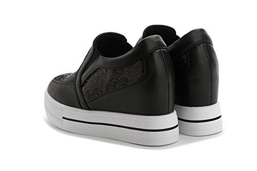 Damen Glänzende Pailette Slip On Dicke Sohle Plattform Aufzug Lässige Schöne Sneakers Schwarz
