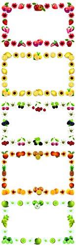 """Einmachetiketten\""""Süße Früchte\"""", 250 Stück - Etiketten mit Früchte-Design, optimal für Marmeladen etc."""