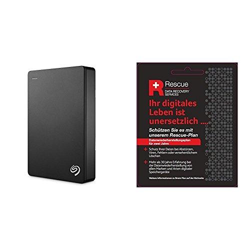 Seagate STDR4000200 Externe tragbare Festplatte (inkl. Backup-Software, USB 3,0, PC, MAC und PS4 ) + STZZ794 Produktkarte mit Code zur Registrierung, Backup Plus 4 TB, schwarz