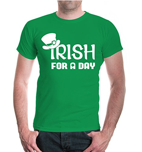 Patricks Day Irish T-shirts (buXsbaum® Herren Unisex Kurzarm T-Shirt Irish for a Day | Irland St. Patrick Green | XL kellygreen-white Grün)
