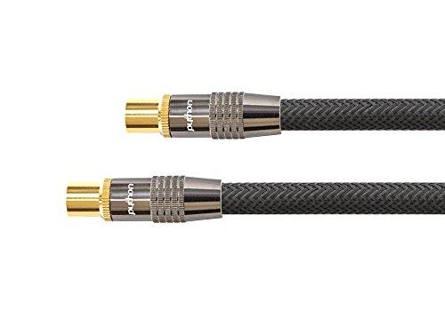PYTHONSeries PREMIUM TV Antennenkabel - IEC / Koax Stecker an Buchse, vergoldet - RG6 Koaxialkabel  Schirmung 120 dB / 75 Ohm – Vollmetallstecker, KUPFERLEITER, Nylongeflecht - schwarz, 7,5 m