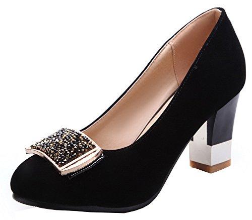 AgooLar Damen Rein Nubukleder Hoher Absatz Rund Zehe Ziehen auf Pumps Schuhe, Schwarz, 34