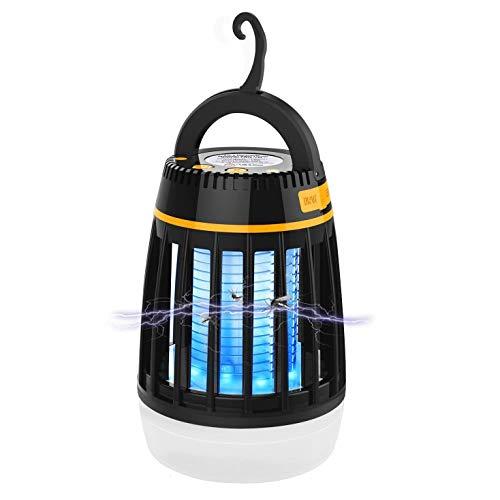 Insektenvernichter Elektrisch 3-in-1 Moskito Killer Lampe Camping Laterne Energie Bank Tragbare Wasserdichte Außenleuchte mit Wiederaufladbarer Batterie und Einziehbarer Haken