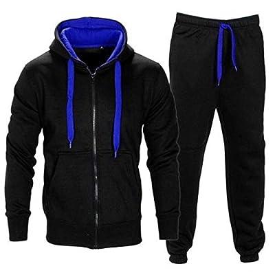 Herren Trainingsanzug Kontrast Fußball Sportanzug Fitnessstudio Fleece Kapuzenpullis Jogginghose Jogginghose Gym Set S-5XL