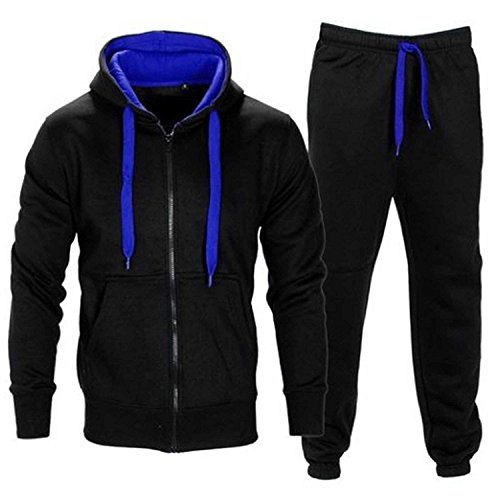 Men's Contrast Cord Fleece Full Zip Up Tracksuit Hoodie Gym Suit Jogging Joggers (Cord-anzug)