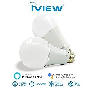 Iview Twin Pack-Isb600 WiFi Smart-Glühbirne, Multi-Color, dimmbar, kein Hub Required, kostenlose App Fernbedienung, kompatibel mit Amazon Alexa und Google-Assistenten