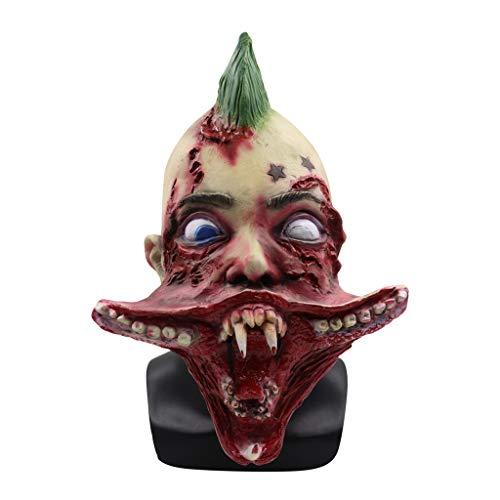 Hffan Gruselig Creepy Helm Horror Cosplay Kostüm Maske Halloween Requisiten Zombie Teufel Karies Trockene Leiche Kopfbedeckung Maske Scary Kopf Maske Cosplay Karneval Verkleidung Kopfmask