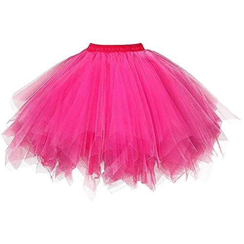e4a307e0087b56 DresseverBrand Damen Petticoat 50er Rockabilly Jahre Retro Tutu Ballet  Tüllrock Cosplay Crinoline Fuchsie Small/Medium