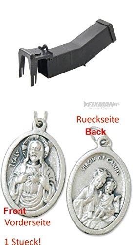 Preisvergleich Produktbild Lebend-Mausefalle, 170 x 40 x 40 mm, Falle, Lebendfalle, Tierfalle, Wippfalle mit einem Anhänger Herz Jesu 2,5cm