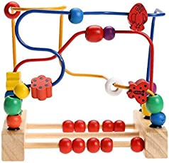 Trinkets & More Wooden Beads Kids Magnet Toddler Large Abacus Maze Puzzle Game Roller Coaster, 12months - 30 Pieces
