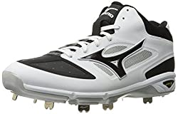 Mizuno Mens Dominant IC Mid Baseball Shoe, White/Black, 11.5 D US