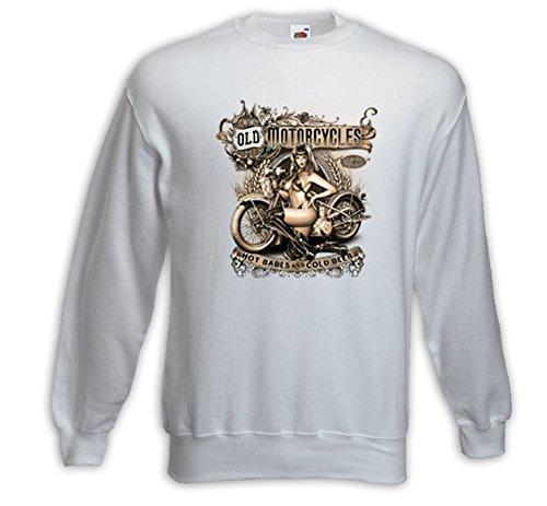 Biker Pullover Old Motorcycles weiß US Pinup Bike Kustom V-Twin Indian Weiß