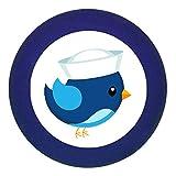 Türknauf Möbelknopf Möbelgriff Möbelknauf Jungen hellblau dunkelblau blau Massivholz Buche - Kinder Kinderzimmer Vogel Matrose blau hellblau maritim - dunkelblau