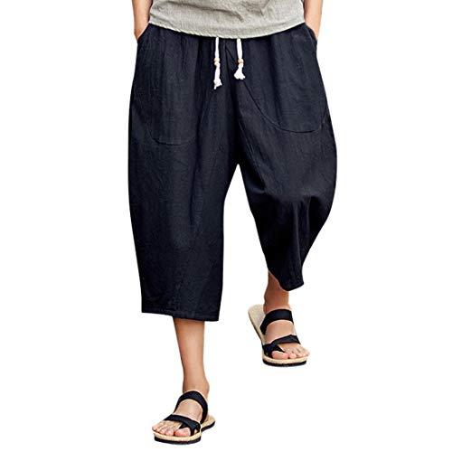 ??Amlaiworld Leinen Baumwoll Weite Beinhosen Sommer Strand locker Pants Tasche Sport Herren Hosen Mode Band 3/4 lang Freizeithose männer Gemütlich Fitness Streetwear -