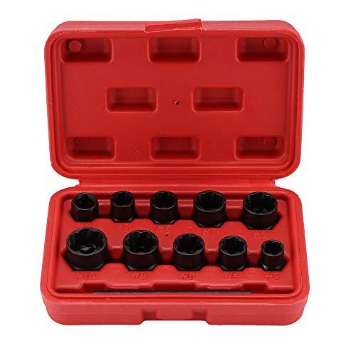 m Feststellrad Twist Socket Damaged Abgerundete Abgenutzte Mutter Remover, Feststellrad Bolt Mutter Stud Extractor Twist Socket Set Threading Handwerkzeuge Kit mit Box ()