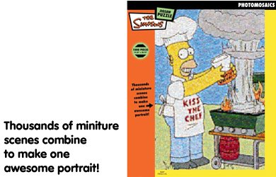 Click for larger image of BV Leisure - Photomosaics The Simpsons Kiss The Chef 1000 Piece Jigsaw Puzzle
