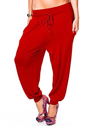 24brands CHICK REBELLE - Damen Freizeithose / Sweat Pants -Sporthose yoga Trainingshose 2314, Größe:M/L;Farbe:Rot