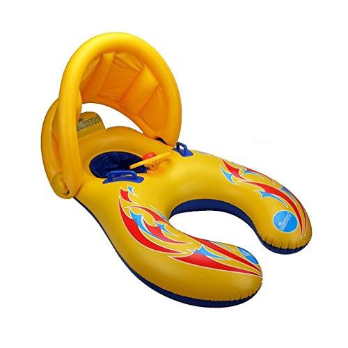 at mit Baldachin, aufblasbare Kinderposen für Pool, Baby Swim Float Mommy und Me Floaties für Erwachsene Kleinkinder im Alter von 6-36 Monaten, Gelb ()
