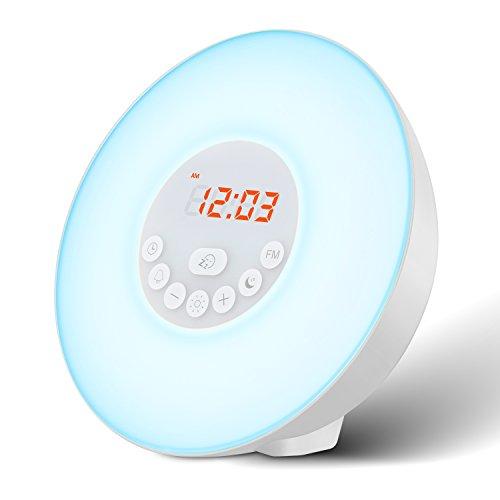 Radio Reveil Eveil Lumière Lampe - Sonore et Lumineux avec Simulation Lever/Coucher du Soleil et Fonction Snooze, Lampe de Chevet et de Lecture, 7 Sonneries Naturelles, Radio FM, Contrôle Tactile