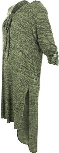 WearAll - Femmes Plus Tied V-Neck Longue Tour En Haut Bouton Manche T-Shirt Haut Robe - Robes - Femmes - Tailles 42-56 Vert