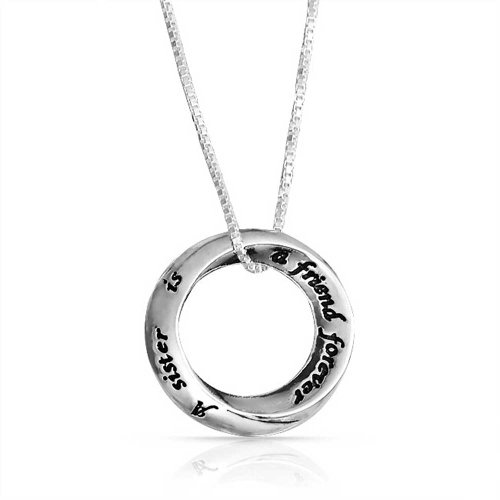 Friends Forever Sister Circle Pendant Necklace 925 Silver 16in