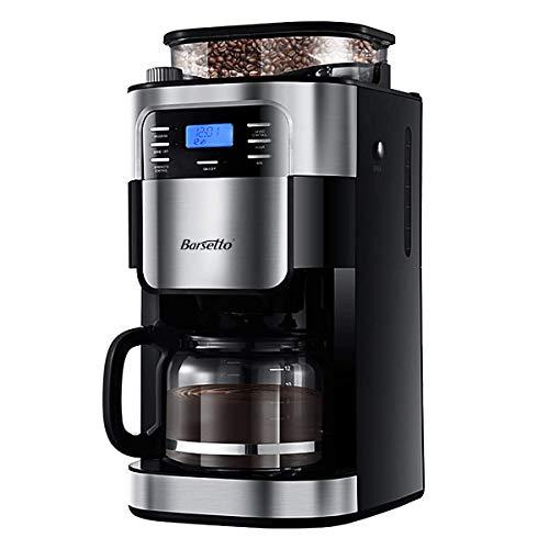 Barsetto Kaffeemaschine mit Mahlwerk 10 Tassen Filterkaffeemaschine Mahlen Timerfunktion für Küche und Büro