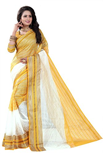 J B Fashion Women's cotton silk saree with blouse piece (gold)