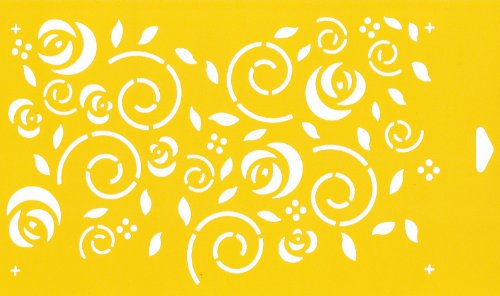 30cm x 17.5cm Pochoir Réutilisable en PCV Plastique Transparent Souple Trace Gabarit - Traçage Illustration Conception de Gâteau Murs Toile Tissu Meubles Décoration Aérographe Airbrush - Roses Fleurs Feuilles de remous