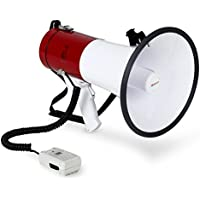 Auna MEG1-HY • Mégaphone • Porte Voix Professionnel • Fonction sirène • Portée 1000 m • 80 Watt Max. • Sangle • Résistant aux intempéries • Alimenté par Batterie • Rouge-Blanc