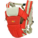 BabyGo Soft 4-in-1 Baby Carrier with Comfortable Head Support and Buckle Straps (Red)