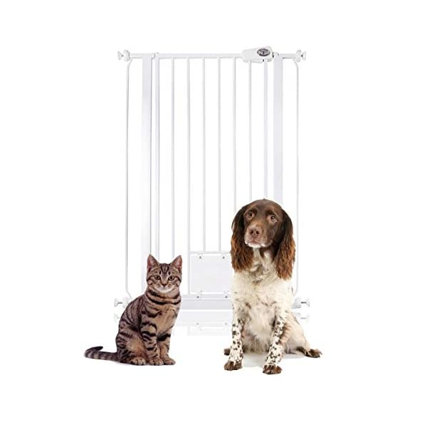 Bettacare Gate with Lockable Cat Flap Pressure Fitted Gate 75cm - 148.7cm Stair and Pet Gate (81.4cm - 89cm, White) Bettacare Pressure Fitted Double Locking Mechanism Fits a Standard Width: 75cm - 84cm 2