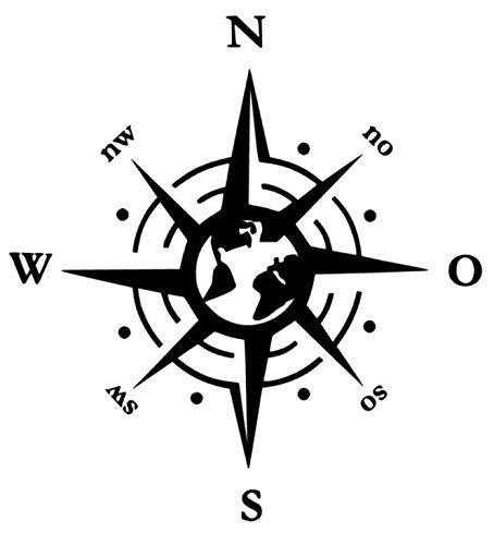 generisch Kompass Aufkleber Welt Polarstern Windrose Aufkleber Verschiedene Größen, Auto Caravan Wohnmobil Wandtattoo, Silhouette Aufkleber 257 (schwarz Glanz, 20 x 20 cm)