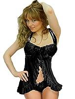 Yummy Bee Babydoll Dress Set Lace Lingerie Panties Satin Plus Size 8 - 24