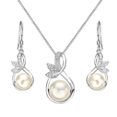 Idea Regalo - Clearine Donna Parure gioielli-Collana Orecchini Matrimonio da sposa Delicato Elegante con Argento e Perla Coltivata d'acqua dolce