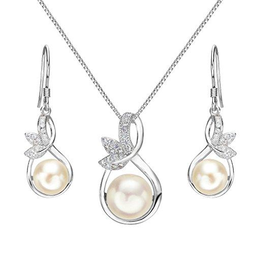 Clearine Damen 925 Sterling Silber Hochzeit Braut CZ Cream Süßwasser-Zuchtperle Unendlichkeit Blatt Vine Pendant Halskette Hook Ohrringe Set Klar