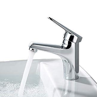 DESFAU Grifo de Lavabo Grifo de Baño Monomando Grifos de Cuenca Grifería Baño Agua Fría y Caliente Cromado
