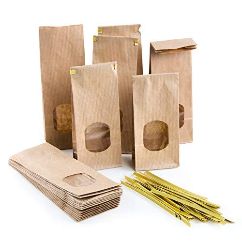 Logbuch-Verlag 25 kleine Blockbodenbeutel braun mit Sichtfenster + Verschluss Papiertüten lebensmittelecht Papierbeutel mit Boden 7 x 4 x 20,5 cm Kraftpapier