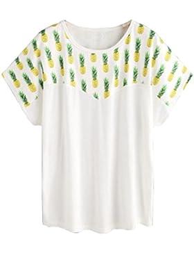 Vovotrade Mujer de moda Piña Blusa Impresa Camisa de manga corta Camiseta Blusa de Verano