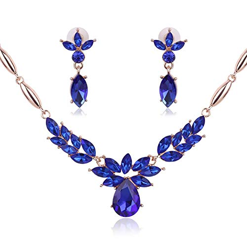 overlookTW Set di Gioielli Eleganti Set di Orecchini da Donna con Pendente con Zaffiro Blu Principessa Useful Professional
