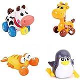 GINOVO® 4pcs Juguete Mecánico , Wind Up Juguete , Animal encantador, Multicolor, para el bebé, niño y niño (toro+jirafa+pingüino+langosta)