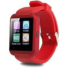 Smartwatch Padcod Bluetooth Smart Watch Reloj Inteligente U8 Bluetooth Soporte Smartwatch Reloj de Pulsera, Llamadas Manos Libres, Anti-Pérdida, SMS/SNS Alertas de Mensajes, Reloj Deportivo con Podómetro, Monitor de Sueño Uwatch para Teléfonos Inteligentes Android Samsung HTC LG SONY Huawei IOS iPhone 5 / 5s / 6/7/8 / 8plus iPhone X (Rojo)