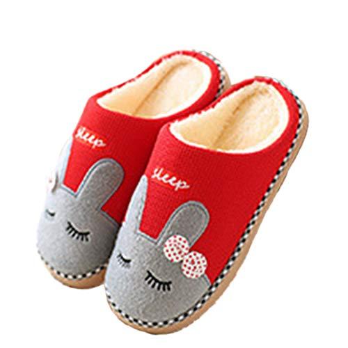 Frauen Haus Baumwolle Hausschuhe Cartoon Kaninchen Muster Warm Pelz Plüsch Frühjahr Hause Schlafzimmer Schuhe