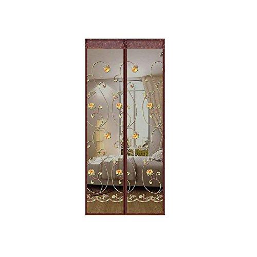 A&j cortina magnetica ricamata con zanzariera magnetica a forma di velcro e cortina di zinco 100x210 cm