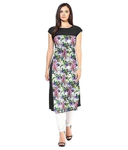 Velentino Trend Women Multicolor Floral Printed Crepe Kurtis VAT116 Small